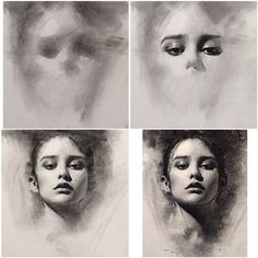 4 stages of charcoal portrait drawing - general to specific approach by Casey…