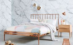 Freshen up your bedroom with the ultra glam Coppa Bed Frame. Inspired by antique metal beds, the Coppa features a bright copper colour with a mirror finish and banister style columns blend a classic design for a chic and timeless aesthetic. Copper Bed Frame, Rose Gold Bed, Copper Bedroom, Beach Bedding Sets, Bedding Inspiration, Cozy Bed, Interior Design Living Room, Bedroom Decor, Bedroom Ideas