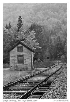 Railroad tracks and shack in autumn, White Mountain National Forest. New Hampshire, USA (black and white)
