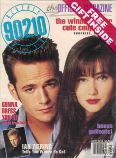 This magazine features all the stars from Beverly Hills 90210 include Luke Perry, Shannen Doherty, and Ian Ziering. Luke Perry 90210, 90210 Cast, Ian Ziering, Pin Up Posters, Shannen Doherty, Beverly Hills 90210, Where To Go, Cute Couples, Photo Art