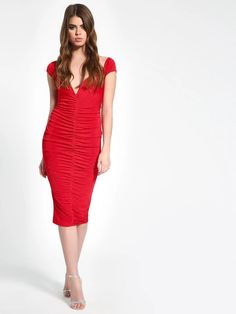 Buy Missguided Red Plunge V-Neck Ruched Midi Dress for Women Online in India Red Bodycon Dress, Red Midi Dress, Midi Dresses Online, Girl Online, Missguided, V Neck, India, Stylish, Stuff To Buy