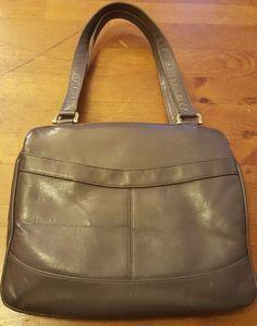 Vintage, Lord & Taylor, Gray, Leather, Organizer Handbag, 1950s #LordTaylor #Satchel #Everyday
