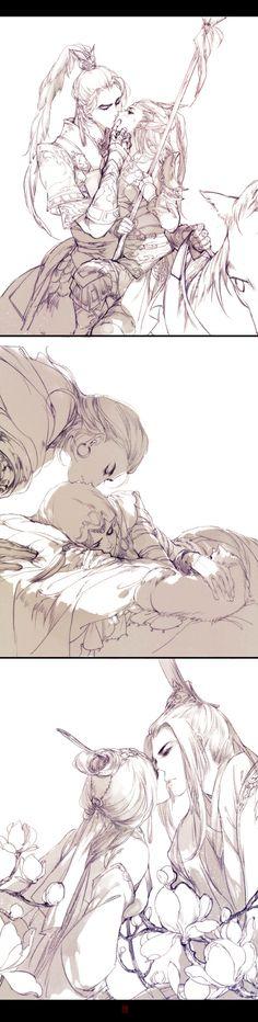 Kiếm Võng couple - Từ trên xuống dưới: Thiên Sách - Minh Giáo - Thuần Dương