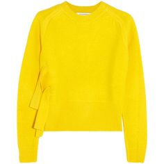 J.W.Anderson Wool sweater ($335) ❤ liked on Polyvore featuring tops, sweaters, shirts, yellow, short shirts, woolen sweater, yellow sweater, j.w. anderson and wool shirt