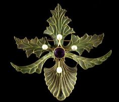 Georges Fouquet 1898. Necklace or Brooch - Gold, set with amethysts, peridots, pearls, with plique-à-jour enamels. via CREATIVE MUSEUM https://www.facebook.com/pages/CREATIVE-MUSEUM/124982770870436?fref=ts