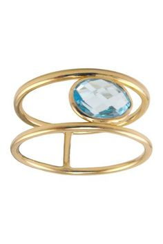 14K Gold Topaz Double Band Ring by Jewelmak on @HauteLook