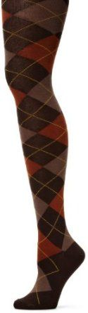 Brown, tan and orange argyle tights.
