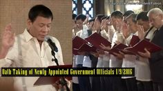 SPEECH: Presideng Rodrigo Duterte at Oath-Taking of Newly-Appointed Government Officials (1/9/2016) - WATCH VIDEO HERE -> http://dutertenewstoday.com/speech-presideng-rodrigo-duterte-at-oath-taking-of-newly-appointed-government-officials-192016/   President Rody Duterte administers the oath-taking of more than 200 newly-appointed government officials at the Rizal Hall in Malacañan Palace on January 9, 2017. These officials are designated in line agencies, government-owned a