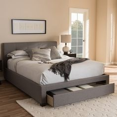 Shop for Baxton Studio Kalliope Modern Upholstered Platform Bed with Storage Drawer. Get free shipping at Overstock.com - Your Online Furniture Outlet Store! Get 5% in rewards with Club O!