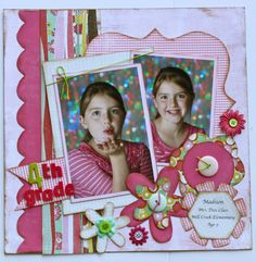 """Sweet """"4th. Grade"""" Scrapping Page...Kiwi Lane Designs. There are lots of pages to see on this blog for inspiration."""