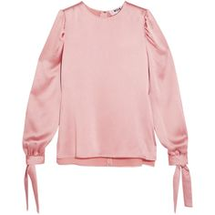 MSGM Hammered-satin top (€285) via Polyvore featuring tops, blouses, antique rose, pink satin blouse, shiny blouse, blouson blouse, rose blouse and msgm