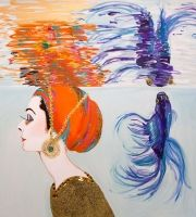 """""""Under Water Audrey With Fighting Fish"""" 60 x 60"""