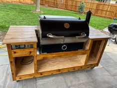 Rec Tec 700 Grill Cart Plans | Seared and Smoked Grill Cart, Grill Table, Smoke House Diy, Honey Chicken Wings, Big Green Egg Table, Wood Smokers, Rec Tec, Smoked Pork Ribs, Grill Grates