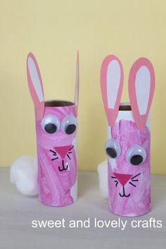 Kids crafts- I knew I was saving toilet paper rolls for something! Kids Crafts, Daycare Crafts, Bunny Crafts, Craft Activities For Kids, Toddler Crafts, Crafts To Do, Preschool Crafts, Craft Ideas, Hand Crafts
