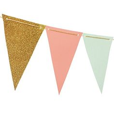 """Ling's moment Small Flag Pennant Banner, Paper Bunting, Mint Coral Pink Gold Glitter, 10Ft, 5.5""""x3.7"""" -- Click here for more details @ http://www.amazon.com/gp/product/B01I37Q4TC/?tag=christmasdecor1-20&pab=190816052245"""