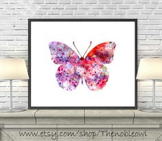 Hey, I found this really awesome Etsy listing at https://www.etsy.com/listing/168472894/watercolor-butterfly-print-pink-red