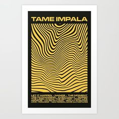Tame Impala Currents Design Art Print by reillyweb Psychedelic Typography, Psychedelic Bands, Psychedelic Tattoos, Tame Impala, Yellow Art, Photo Wall Collage, Art Google, Unique Art, Art Inspo