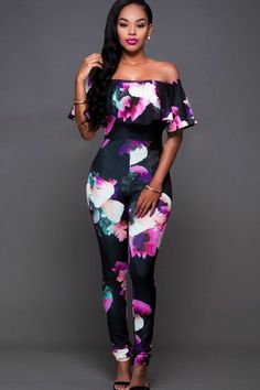 Let your soul wander in the sexy off shoulder jumpsuit! This sexy jumpsuit features off shoulder, short sleeve, ruffle trim, printed decor and fit style. Off ShoulderSleeve Length: Short Sleeve Long Jumpsuits, Jumpsuits For Women, Jumper Outfit Jumpsuits, Fashion Jumpsuits, Off Shoulder Jumpsuit, Printed Jumpsuit, Denim Jumpsuit, Floral Jumpsuit, Floral Romper