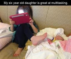 Funny pictures of the day -  My Six Year Old Daughter Is Great At Multitasking
