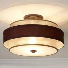 Gold/Bronze Sheer Double Shade Flush Mount