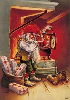 Lars Carlsson, Christmas card 10 x Finland Swedish Christmas, Christmas Gnome, Scandinavian Christmas, Christmas Art, Vintage Christmas Cards, Christmas Pictures, Gnome Pictures, Kobold, Gnome House