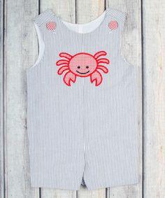 Look what I found on #zulily! Navy Stripe Crab Shortalls - Infant & Toddler #zulilyfinds