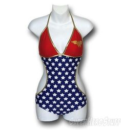 Wonder Woman Triangle Monokini Swimsuit... if it didn't showcase your love handles so prominently, I might buy this...