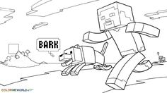 Minecraft Coloring Pages Printable | Minecraft: Steve and His Dog Coloring Page, Wallpaper