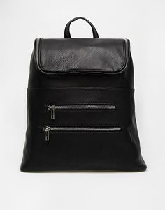 Image 1 of ASOS Chunky Zip Backpack with Zip Pocket