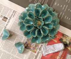 Pottery and Paint: Blue dahlia