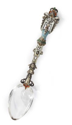An Austrian silver, enamel and rock crystal spoon, probably Hermann Ratzersdorfer, Vienna, circa 1880