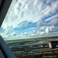 view from diamond-shaped window, Hilton Amsterdam Airport Schiphol Hotel