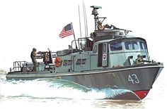 PCF MK1 Swift Boat en 1969, USA Military Diorama, Military Art, Brown Water Navy, E Boat, Boat Illustration, Navy Carriers, Go Navy, Vietnam War Photos, United States Navy