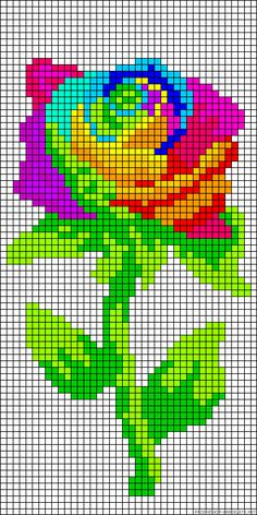 Rainbow flower perler bead pattern or in my case...cross stitch or embroidery.