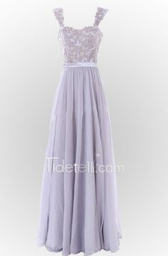 Exquisite A-line Sweatheart Floor Length Wide Straps Chiffon Prom Dress with Appliques