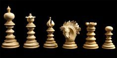 Luxury Chess Pieces - High quality chessmen with exceptional features and exotic hand carved woods, luxury chess pieces are great for players and collectors. Chess Pieces, Game Pieces, Chess Set Unique, Chess Table, Chess Players, Kings Game, Steampunk House, Chess Sets, Carousel Horses