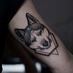 heavenly dotwork husky tattoo