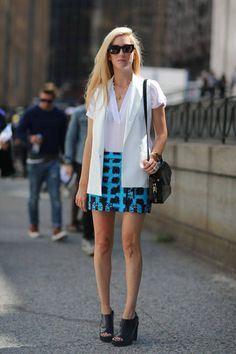 Joanna Hillman in Proenza Schouler skirt, Alexander Wang shoes and bag and Theory vest   - HarpersBAZAAR.com