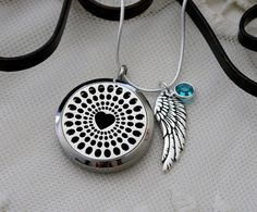 Personalized Angel Wing Necklace, Essential Oil Diffuser Locket, Aromatheraphy Necklace, Angel Wing Birthstone Heart Locket, Angel Wing Gift