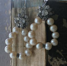 Snow Balls - assemblage earrings