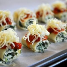 The perfect party appetizer. Make the bite size lasagna rolls for tonight and have individual portions all ready for tomorrows family dinner.