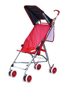 Single umbrella stroller does not recline. Scissor folding. Mesh pocket for storage. Foot brake.