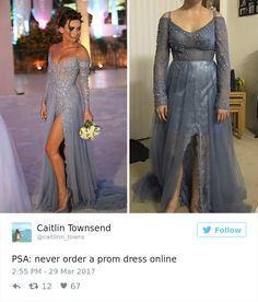 when young women obsess over getting the perfect dress. Ordering a dress online can lead to devastating consequences. Here is a selection of some of the best internet prom dress fails out there. Worst Prom Dresses, Prom Dress Fails, Funny Dresses, Prom Dresses Online, Prom Dresses Blue, Formal Dresses, Dress Online, Clothing Fails, Funny Prom