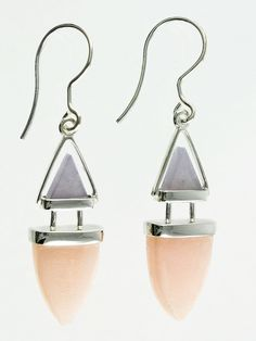 """Natural Gemstone: Pink Calcite & Aventurine Color and patterns may vary slightly due to its natural properties. Materials: 925 Sterling Silver Size: 1"""" L x 0.75"""" W Includes a Fancy Bow-tie Jewelry Gif"""