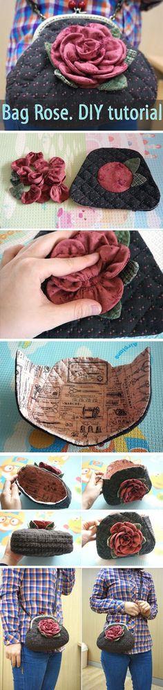 Quilting Bag Rose. DIY tutorial. http://www.handmadiya.com/2015/08/quilting-bag-rose-diy-tutorial.html