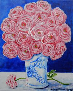 Original Acrylic Painting Pink Ranunculus by KellyColemanCoursey,
