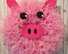 Pig wreath, pig decorations, pig decor, fatm wreath, farm decor, farmhouse, farmhouse wreath, spring wreath, summer wreath, pig, farm decor