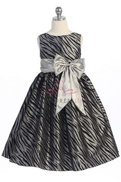Silver Zebra Pattern Velvet Flocking Taffeta Girl Dress KD-316-SV on www.GirlsDressLine.Com