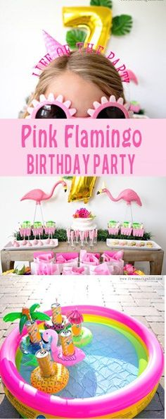 Girly Pink Flamingo Birthday Party - tropical pool party for girls with printable Favor bags #ad #BirthdaysMadeBrighter