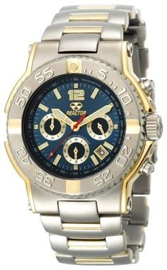 REACTOR Men's 75103 Critical Mass Chronograph Blue Dial Two-Tone Watch REACTOR. $399.95. Unidirectional rotating timing bezel. Durable, accurate quartz movement. Quality Japanese-quartz movement. 2-tone models are triple gold plated. Water-resistant to 660 feet (200 M)